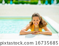 Portrait of smiling young woman in swimming pool 16735685