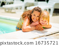 Portrait of smiling mother and baby girl in swimming pool 16735721