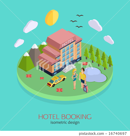 Hotel booking 3d isometric design concept stock for Hotel booking design