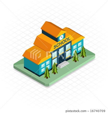 School Building Isometric 3d Pixel Design Icon Modern