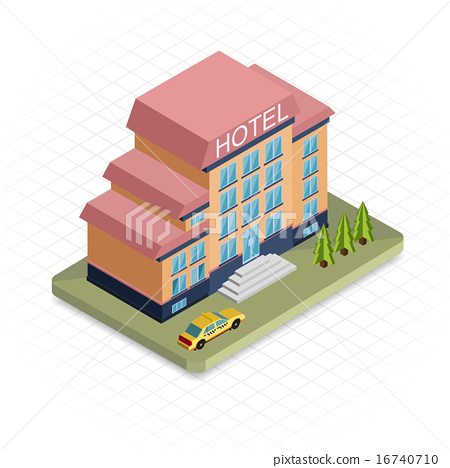 Hotel Building Isometric 3d Pixel Design Icon Modern Flat Design