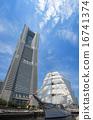 Sailing ship Nippon Maru's total sail exhibition Sail · full boat decoration and Yokohama Landmark Tower 16741374