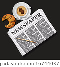newspaper with cappuccino cup and croissant 16744037