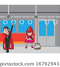 Halloween vampire and red hood girl in subway 1 16762943