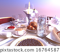 Breakfast,with, croissants, bilberry,pie,beverages 16764587