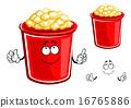 Red bucket of caramel popcorn 16765886