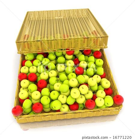 Wicker basket full of apples isolated on white 16771220