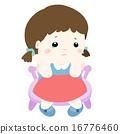 sad little girl on white background vector 16776460