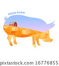 Pig silhouette with double exposure of beautiful farm landscape. Concept of fresh farming. 16776855