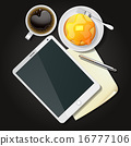 tablet with black coffee and pancake 16777106