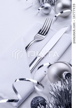 Stock Photo: New Year christmas celebration table set