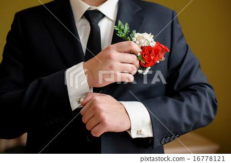 Wedding details cufflinks elegant male suit 16778121