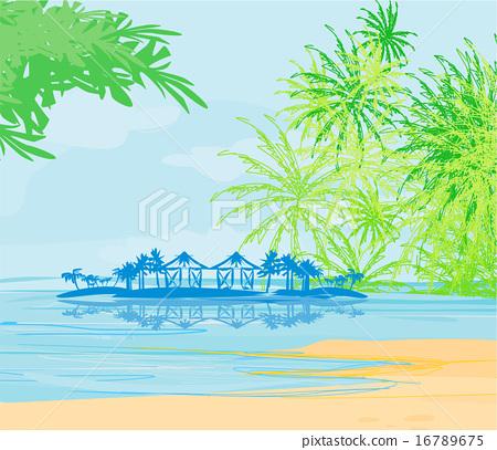Tropical beach  landscape vector 16789675