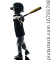 child playing softball players silhouette isolated 16793708