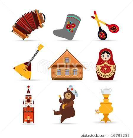 Set Of Russia Travel Colorful Isolated Flat Icons Russian National