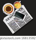 newspaper and mobile phone with tea and pudding 16813582