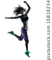woman zumba dancer dancing exercises silhouette 16816234