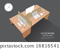Computer desk perspective view vector illustration 16816541