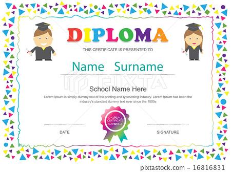 cpe certificate template - preschool kids diploma certificate school template stock