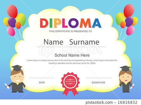 Preschool kids school diploma certificate template stock preschool kids school diploma certificate template yadclub Choice Image