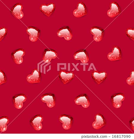 Ruby Gem Hearts Seamless Pattern 16817090