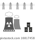 nuclear power plant and radioactive barrels eps10 16817458