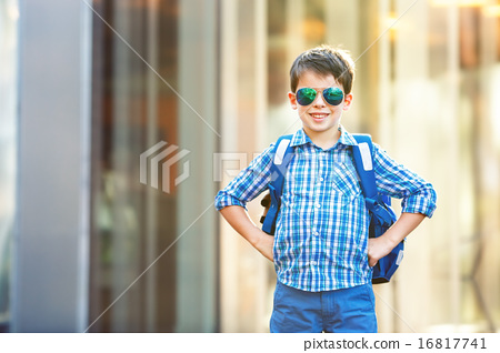 Portrait of cute school boy with backpack 16817741