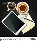 tablet and note paper with coffee and pudding 16822087