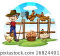 Chicken farmer with eggs 16824401