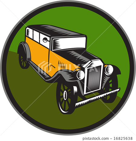 Vintage Car Hi Angle Circle Woodcut 16825638