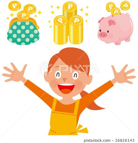 손을 벌리고 미소 앞치마를 입은 여성과 포인트 동전 지갑, 저금통 세트 16826143