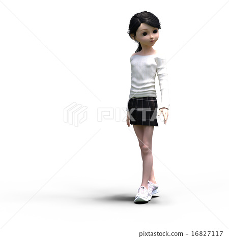 Female deformed in a knit sweater perming 3DCG illustration material 16827117