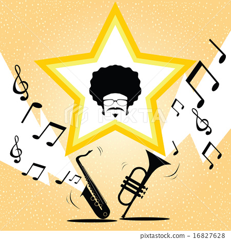 Afro man on the rainbow and trumpet background 16827628