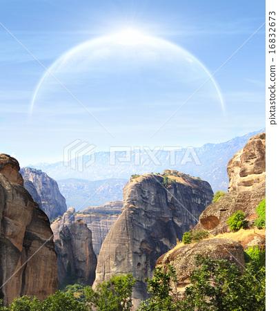 Fantastic landscape with planet 16832673