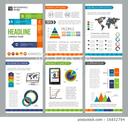 set of corporate business stationery brochure templates flat style