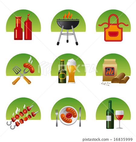 barbecue icon set 16835999