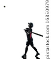 woman playing softball players silhouette isolated 16850979