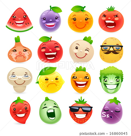 Funny Cartoon Fruits and Vegetables with Different Emotions 16860045