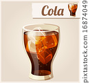 Glass of cola with ice. Detailed Vector Icon.  16874049