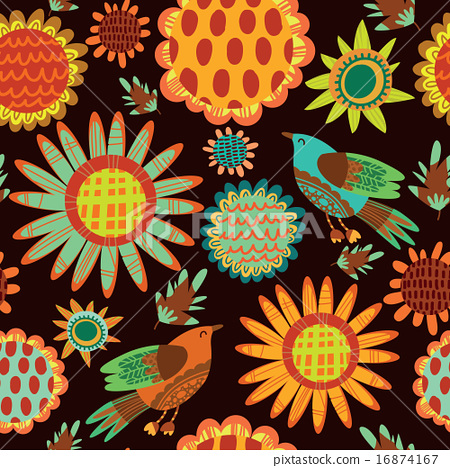 Seamless pattern with sunflowers and birds 16874167
