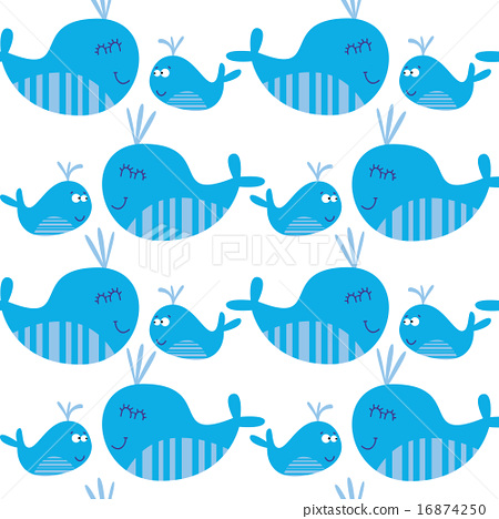 Cute seamless pattern with whales 16874250