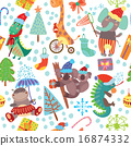 Cute Christmas seamless pattern with wild animals 16874332