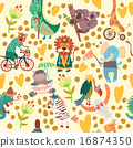 Cute floral seamless pattern  16874350