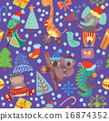 Cute Christmas seamless pattern with wild animals 16874352