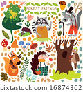 Vector Set of Cute Woodland and Forest Animals. 16874362