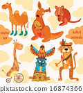 Safari animals:Quokka, tiger, camel, giraffe,  16874366