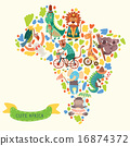Map of Africa with cute animals in vector.  16874372