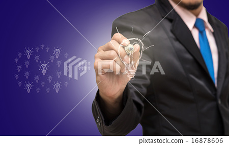 Businessman pointing or touching on the idea of success 16878606
