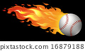 Baseball on fire 16879188