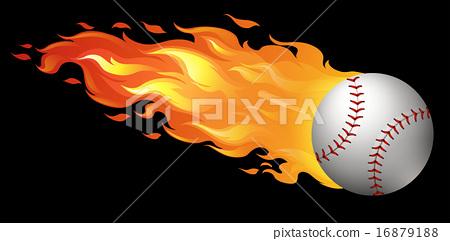 Baseball on fire 16879188